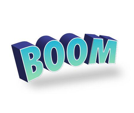 Boom Tekst voor titel of kop. In 3D Fancy Fun en Futuristische stijl Stockfoto