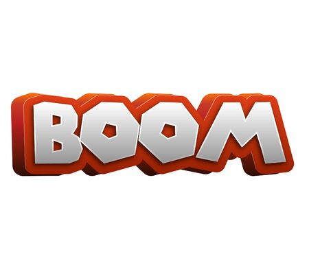 explotion: Boom Text for Title or Headline. In 3D Fancy Fun and Futuristic style