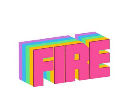 Fire Text for Title or Headline. In 3D Fancy Fun and Futuristic style Stock Photo