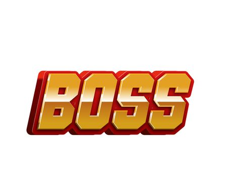 Boss Text for Title or Headline. In 3D Fancy Fun and Futuristic style Stock Photo