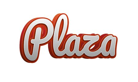 Plaza Text for Title or Headline. In 3D Fancy Fun and Futuristic style Stock Photo
