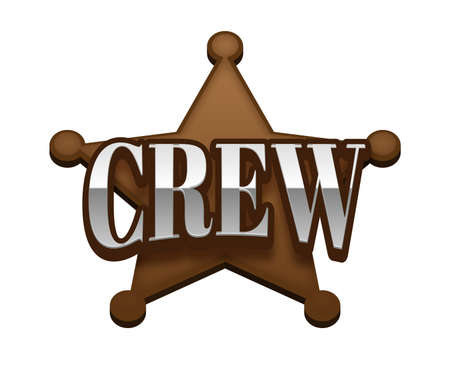 Crew Text for Title or Headline. In 3D Fancy Fun and Futuristic style Stock Photo