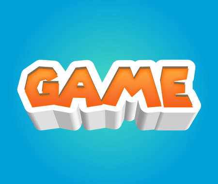 Game Text for Title or Headline. In 3D Fancy Fun and Futuristic style