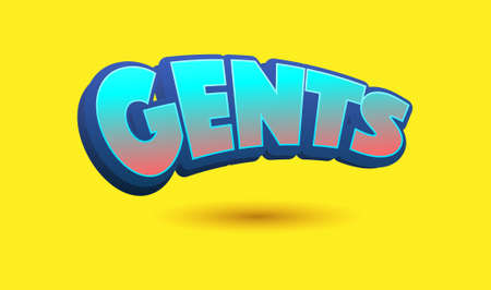 gents: Gents Text for Title or Headline. In 3D Fancy Fun and Futuristic style