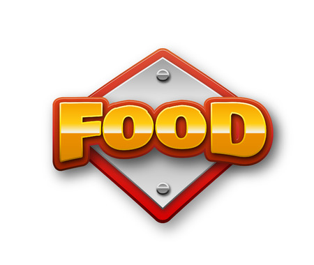 Food Text for Title or Headline. In 3D Fancy Fun and Futuristic style Stock Photo