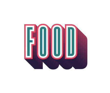 silver: Food Text for Title or Headline. In 3D Fancy Fun and Futuristic style Stock Photo