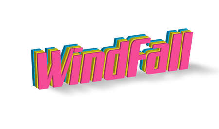 windfall: Windfall Text for Title or Headline. In 3D Fancy Fun and Futuristic style Stock Photo