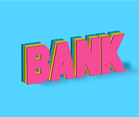 Bank Text for Title or Headline. In 3D Fancy Fun and Futuristic style