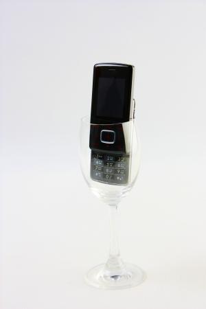 black mobile in glass