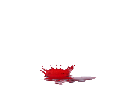 gore: Red blood drops on the floor spread a white background.