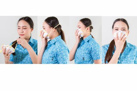 Recommend step by step guide to wear N95 mask. Фото со стока
