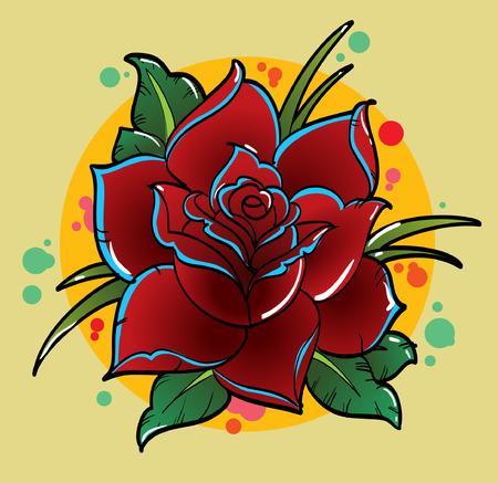 Traditionele Tattoo Flower Vector Illustratie