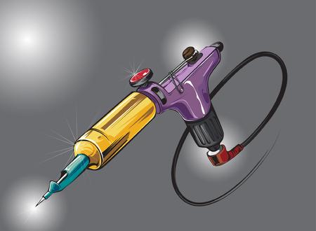 mano de la cuerda de la máquina rotatoria del tatuaje. variaciones de color. Ilustración del vector. Ilustración de vector