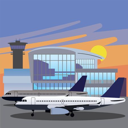 Airport , Arrivals at Airport and Departures, Vector Illustration