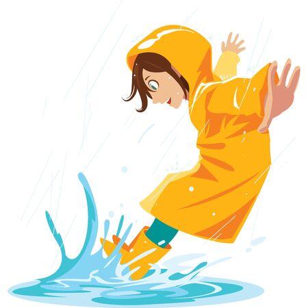 fille aime piétiner dans les flaques de pluie Pendant la saison des pluies.