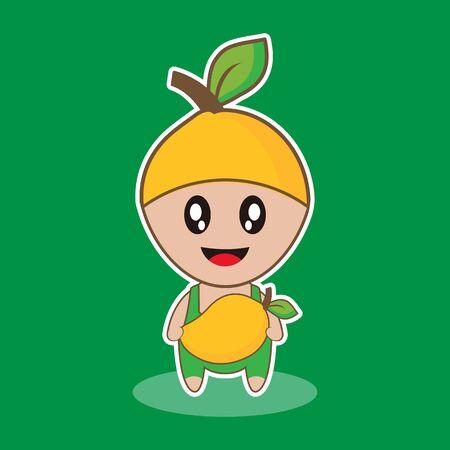 Mango. Illustration Vector Graphic Of Funny Mascot Mango Fruit Carrying Mango Fruit, Good Design For Fruit Theme