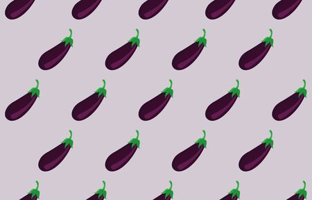 Illustration Vector Graphic Of Eggplant Seamless Pattern, Suitable For Vegetable-Themed Backgrounds