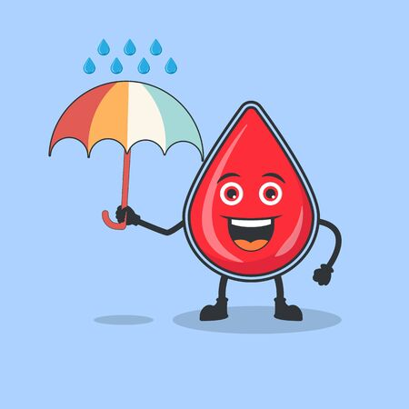Illustration Vector Graphic Of Cute Blood Characters Hold an Umbrella. Great design for World Blood Day