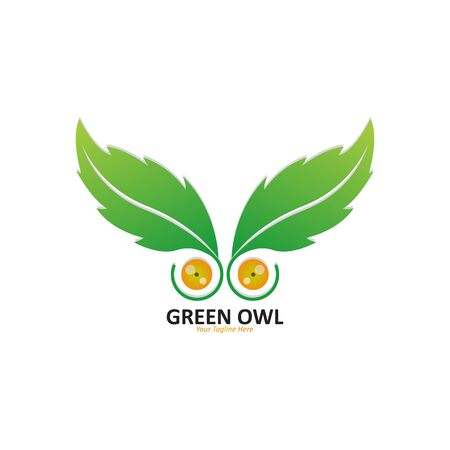 Illustration Vector Graphic Of Green Owl Logo, Suitable For Leaves and Owl Logo Design Illustration