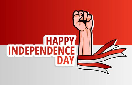 Illustration Vector Graphic Of Hand and Indonesian Flag, Design Suitable for Indonesian Independence Day