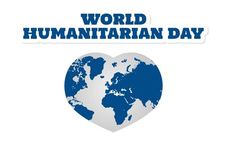 Flat Design Illustration Of World Humanitarian Day With Globe Template, Design Suitable For Posters, Backgrounds, Greeting Cards, World Humanitarian Day Themed