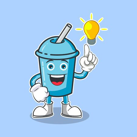 Illustration Vector Graphic Of Cute Drinks Smoothie Characters Get An Idea, Design suitable for mascot drinks
