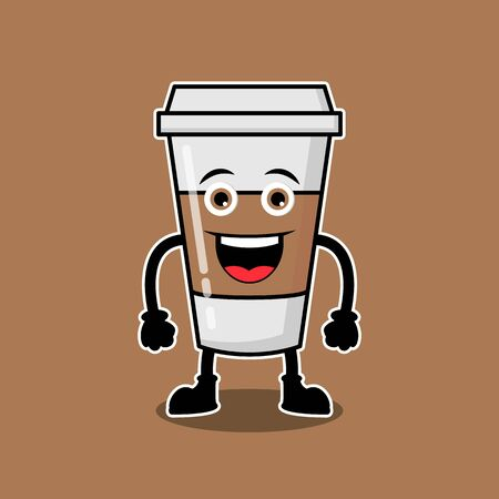 Illustration Vector Graphic Of Cute Characters Coffee Cup Drinks, Design suitable for mascot drinks