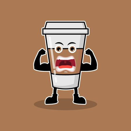 Illustration Vector Graphic Of Cute Mascot Muscle Coffee Drinks, Design suitable for mascot drinks
