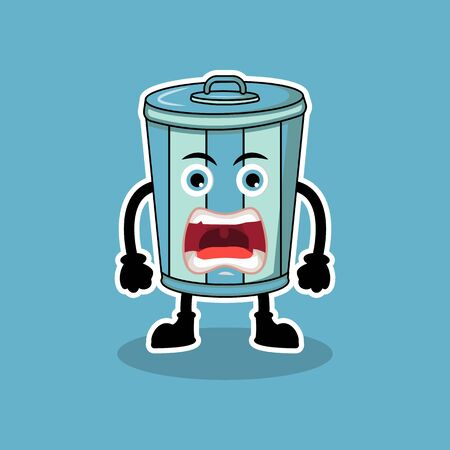Illustration Vector Graphic Of Mascot Funny Garbage Can Angry, Design Suitable For Mascot Hygiene