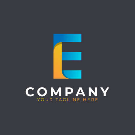 Creative Initial Letter E Logo Design. Yellow and Blue Geometric Arrow Shape. Usable for Business and Branding Logos. Flat Vector Logo Design Ideas Template Element. Eps10 Vector