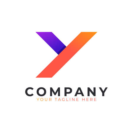 Creative Initial Letter Y Logo Modern and Elegant. Purple and Orange Geometric Shape Arrow Style. Usable for Business and Branding Logos. Flat Vector Logo Design Ideas Template Element. Eps10 Vector