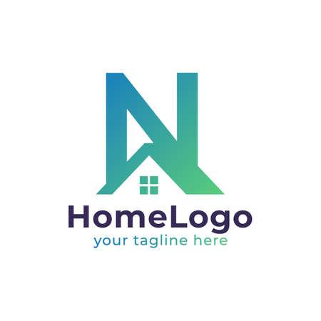 Real Estate N Letter Logo Design. Usable for Construction Architecture Building Logo. Flat Vector Logo Design Ideas Template Element. Eps10 Vector