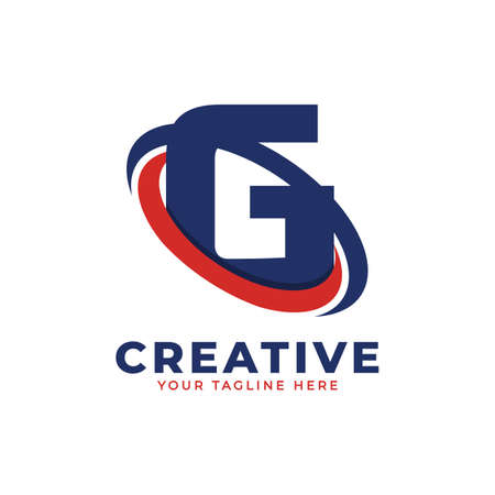 Corporation Letter G Logo With Creative Circle Swoosh Orbit Icon Vector Template Element in Blue and Red Color.