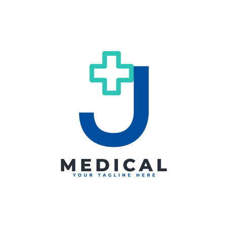 Letter J cross plus logo. Usable for Business, Science, Healthcare, Medical, Hospital and Nature Logos.