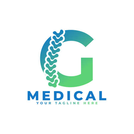 Letter G with Icon Spine Logo. Usable for Business, Science, Healthcare, Medical, Hospital and Nature Logos.