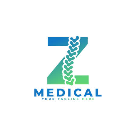 Letter Z with Icon Spine Logo. Usable for Business, Science, Healthcare, Medical, Hospital and Nature Logos.