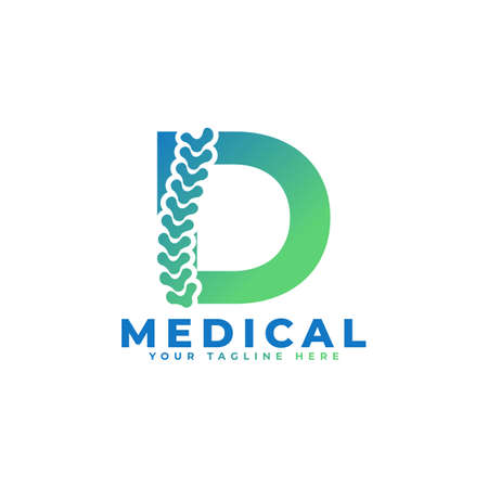 Letter D with Icon Spine Logo. Usable for Business, Science, Healthcare, Medical, Hospital and Nature Logos.
