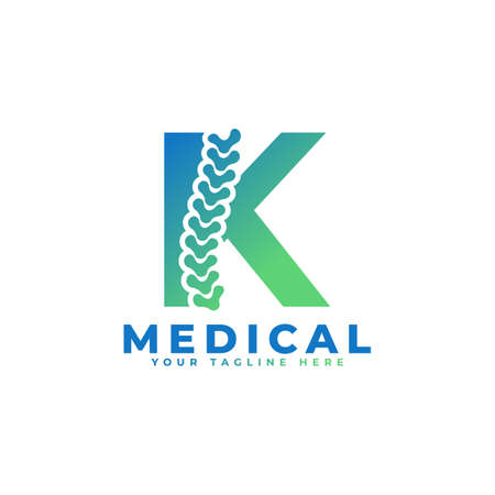 Letter K with Icon Spine Logo. Usable for Business, Science, Healthcare, Medical, Hospital and Nature Logos.