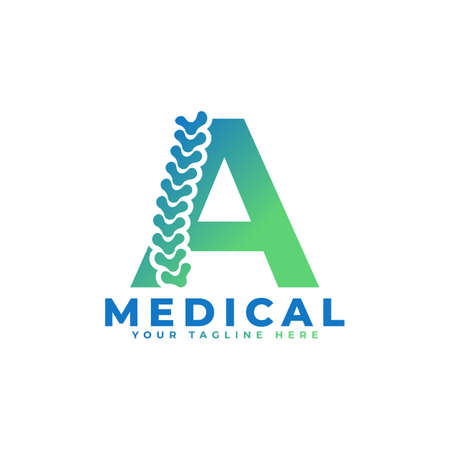 Letter A with Icon Spine Logo. Usable for Business, Science, Healthcare, Medical, Hospital and Nature Logos.