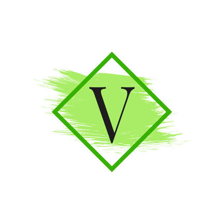 Letter V Logo with Water Color Brush Stroke. Usable for Business, wedding, make up and fashion Logos.