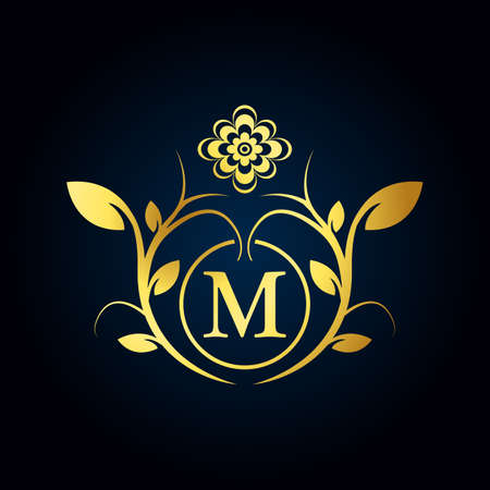 Elegant M Luxury Logo. Golden Floral Alphabet Logo with Flowers Leaves. Perfect for Fashion, Jewelry, Beauty Salon, Cosmetics, Spa, Boutique, Wedding, Letter Stamp, Hotel and Restaurant Logo. ЛОГОТИПЫ