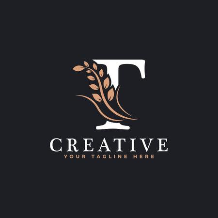 Initial Letter T Linked Monogram Golden Laurel Wreath Logo. Graceful Design for Restaurant, Cafe, Brand name, Badge, Label, luxury identity