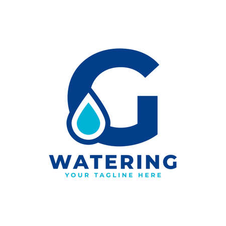 Water Drop Letter G Initial Logo. Usable for Nature and Branding Logos. Flat Vector Logo Design Ideas Template Element Logó