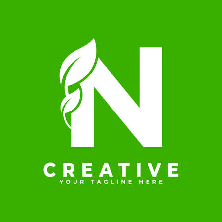 Letter N with Leaf Logo Design Element on Green Background. Usable for Business, Science, Healthcare, Medical and Nature Logos