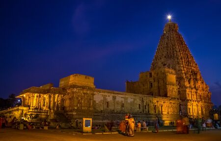THANJAVUR, INDIA - 27th April 2019: Brihadeeswara Temple or Big Temple in Thanjavur at night view. Long exposure shot for Brihadishvara Temple night time. approved unesco world heritage site.