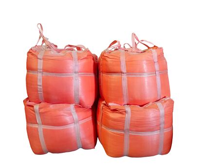 Stock Chemical fertilizer  jumbo-bag on the White Background waiting for shipment.