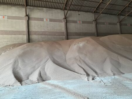 Chemical fertilizer piles in the warehouse are waiting for the delivery of the type of bulk.