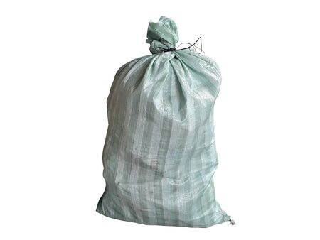 White and green hemp sack Packing chemical fertilizer, sugar, flour, rice waiting for delivery on the White background