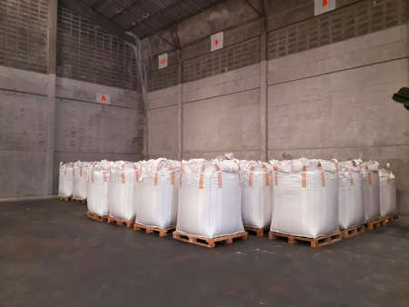 Stock Chemical fertilizer Urea jumbo-bag in a warehouse waiting for shipment.
