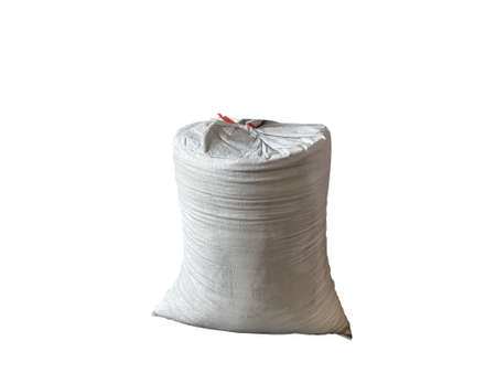 White hemp sack Packing chemical fertilizer, sugar, flour, rice waiting for delivery on the  White Background
